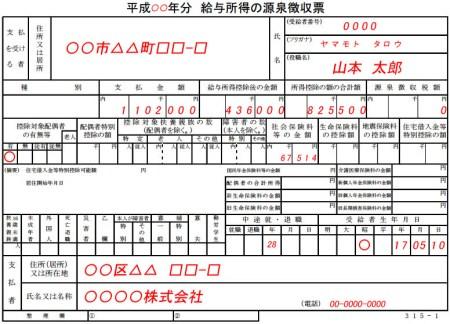 年金給与源泉徴収票_例