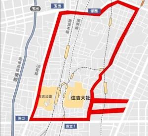 住吉大社の交通規制図