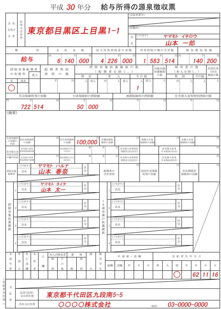 H30年分_ふるさと納税源泉徴収票図