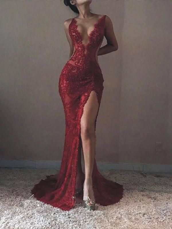 Sexy Backless Red Lace Side Slit Deep V Neckline Mermaid Long Evening Prom Dresses, 17531 - Custom Size / Custom_Colors
