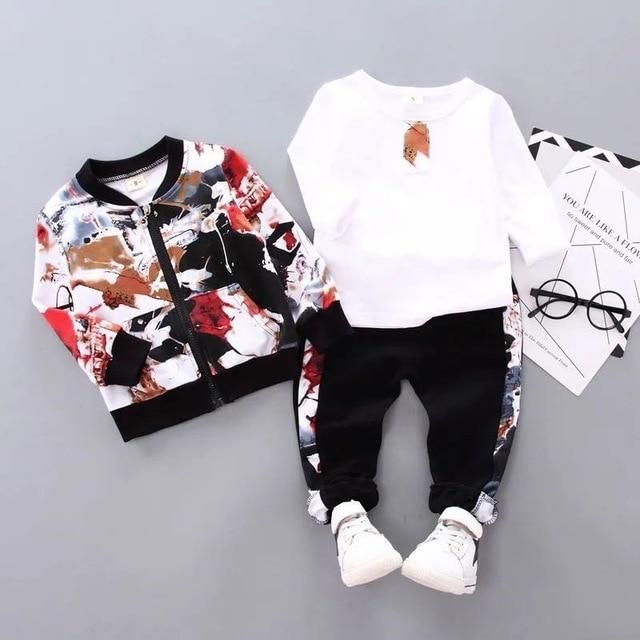 3pcs/set Baby Boy Clothes Cartoon Mickey Mouse Bear Hooded Coat+T Shirt+Pant - Ink painting / 6M