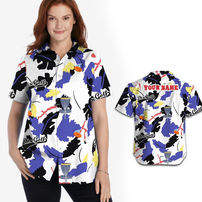 Disc Golf Custom Name Hawaiian Shirt For Women In Summer 5XL Black/White/Purple