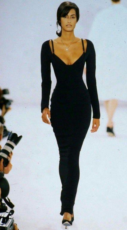 Yasmeen Ghauri walked for Isaac Mizrahi spring/summer 1996