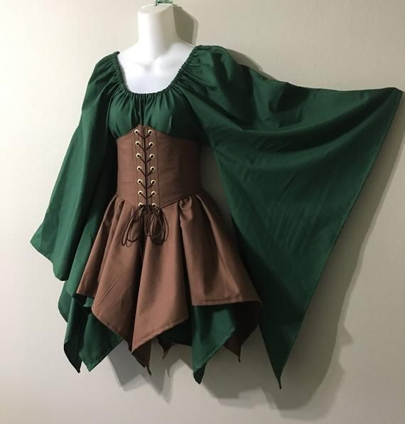 Custom Size and Color Woodland Wood Elf Fairy Fantasy Waist Cincher Corset Set Top and Jagged Skirts by LoriAnn Costume Designs