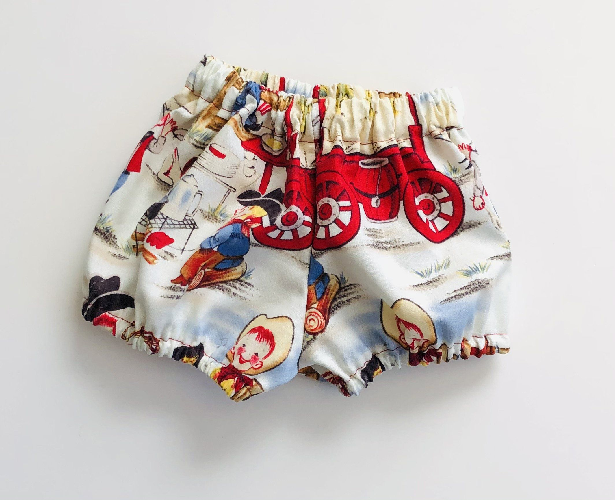 Baby Boy Bloomers Set, 2 Pack - Vintage Cowboy / Red Horseshoe - 0-3 months