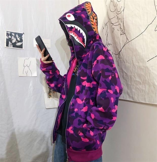 Shark Camouflage Hooded Sweatshirts Female Student Early Autumn Harajuku Hip-Hop Loose Couple Leisure Women Hoodie - Sky Blue / M / China