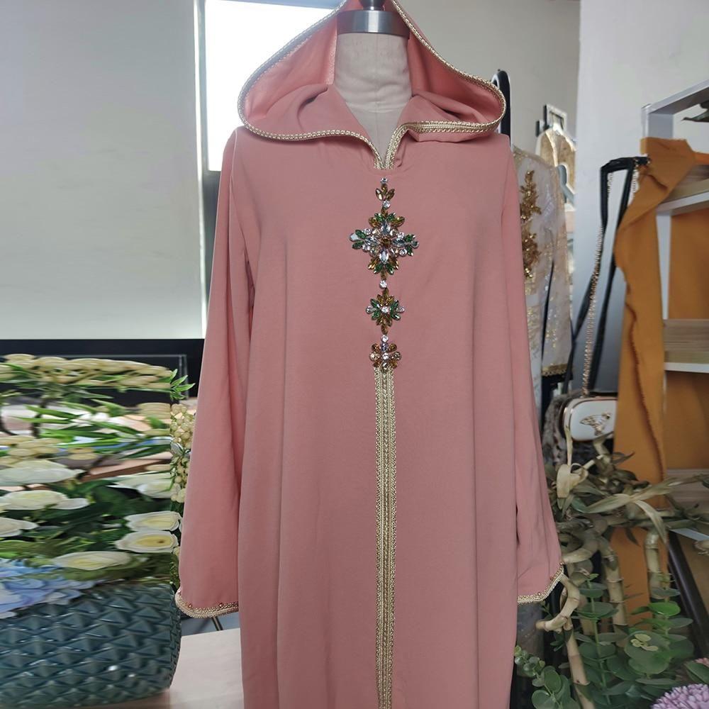 Abaya Fashion Hijab Dress Islam Clothing Long Dresses For Women Robe De Moda Musulman Djellaba Femme - Orange Pink / XXL