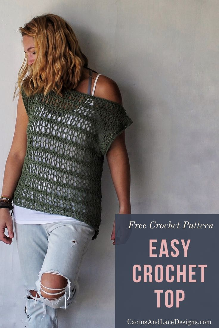 Easy Crochet Top~ The Ivy Tee~ Free Pattern ~ Cactus & Lace Designs