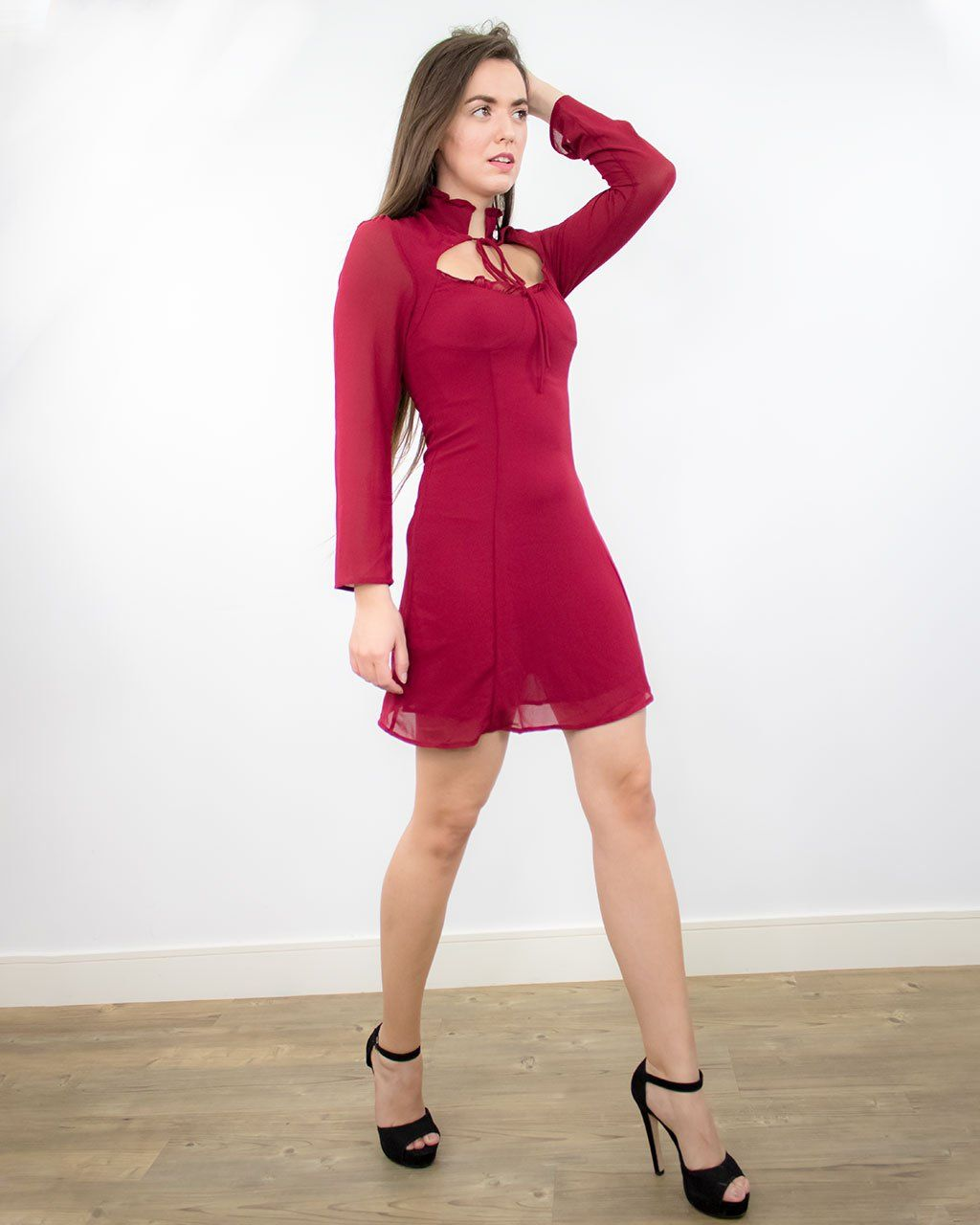 Sienna Mini Red Dress with Long Sleeves - S