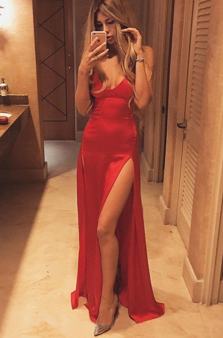 Red Sheath Satin Side Slit Sweetheart Prom Dresses - Red / US2