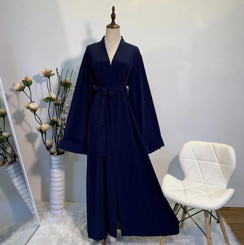 Open Kaftan Abaya Kimono Cardigan Islam Muslim Hijab Dress Jilbab Abayas For Women - Dark blue / S / United States