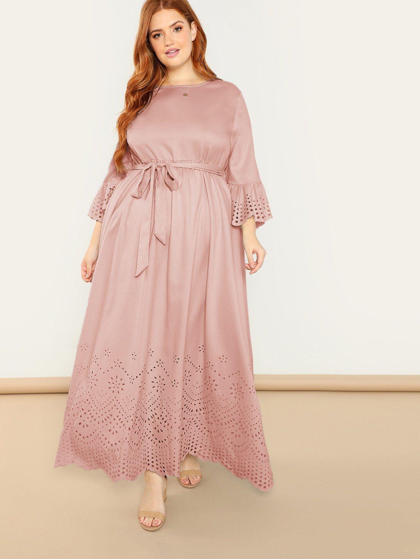 SHEINPlus V Neck Scallop Trim Laser Cut Solid Dress - Pink / 0XL