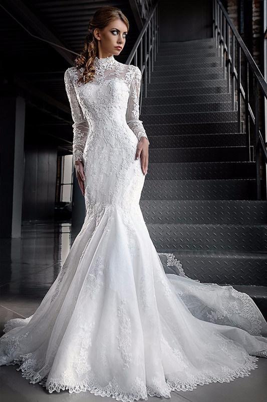 Modest Muslim Lace Wedding Dresses Illusion Long Sleeve High Neck Lace Applique Mermaid Bridal Dress Islamic Dubai Wedding Gowns Tradional From Lilliantan, $179.10 | DHgate.Com