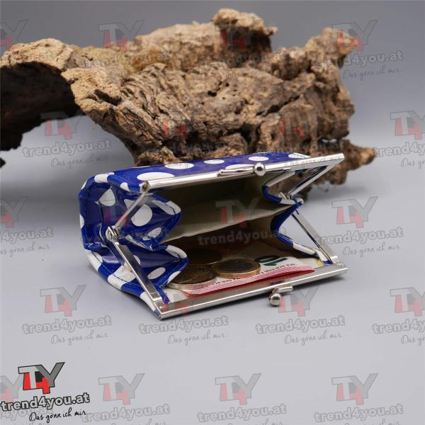 Geldtasche Rockabilly Design hell blau / weiß