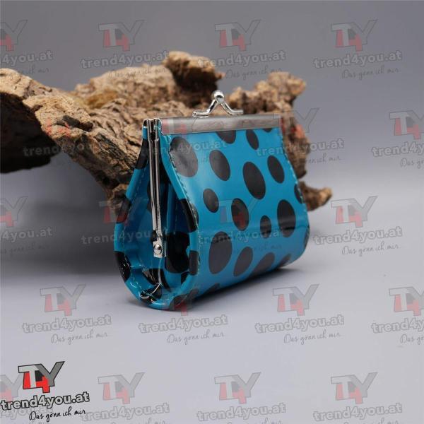 Geldtasche Rockabilly Design türkis / schwarz