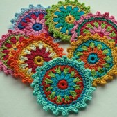 Crochet Flower Patterns Free Flower Motif Coasters Free Crochet Pattern