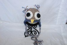 Crochet Owl Hat Pattern Crocheted Owl Hat Dark Blue Etsy