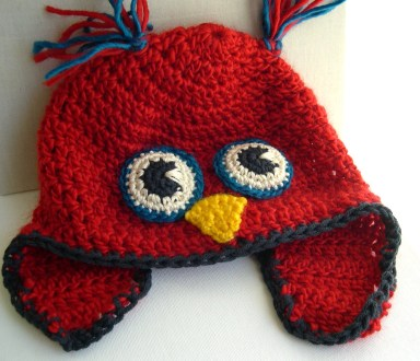 Owl Hat Crochet Pattern Owl Hat In Red Red Crocheted Hat Teenager Owl Hat On Storenvy