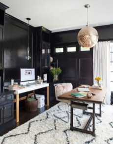 Best Home Office Ideas With Black Walls 04