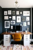 Best Home Office Ideas With Black Walls 38