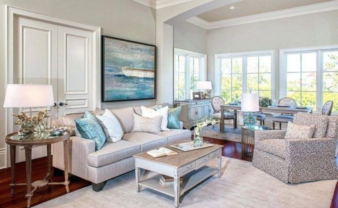 Stylish Coastal Themed Living Room Decor Ideas 42