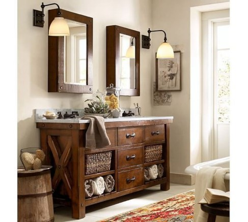 Comfy Farmhouse Wooden Bathroom Design Ideas 06