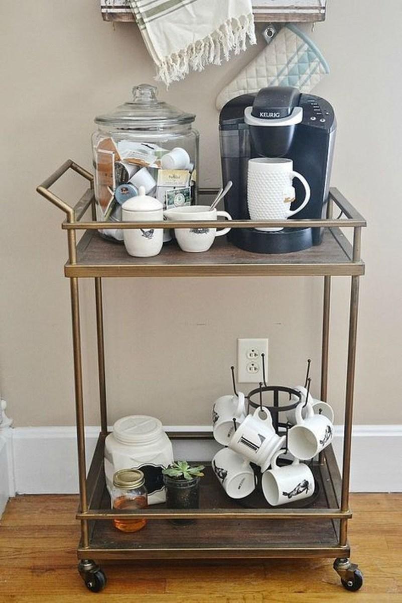 Wonderful Apartment Coffee Bar Cart Ideas 56