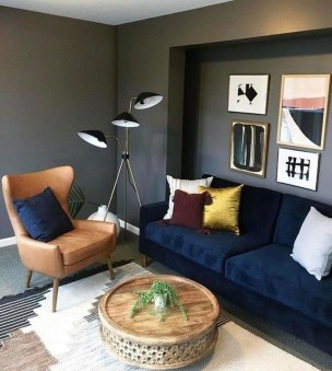 Catchy Living Room Designs Ideas With Bold Black Furniture 08