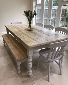 Cute Farmhouse Table Design Ideas Which Is Not Outdated 04