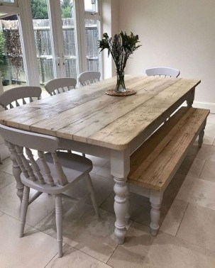 Cute Farmhouse Table Design Ideas Which Is Not Outdated 25