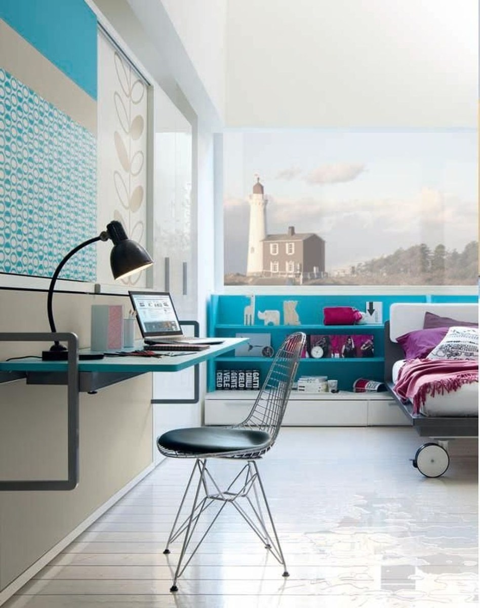 Cute Love Blue Ideas For Teenage Bedroom 36