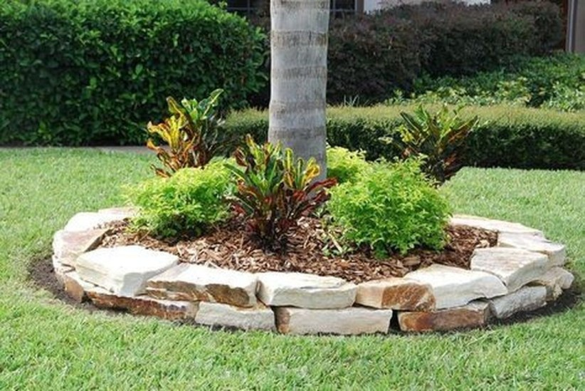 Adorable Flower Beds Ideas Around Trees To Beautify Your Yard 42