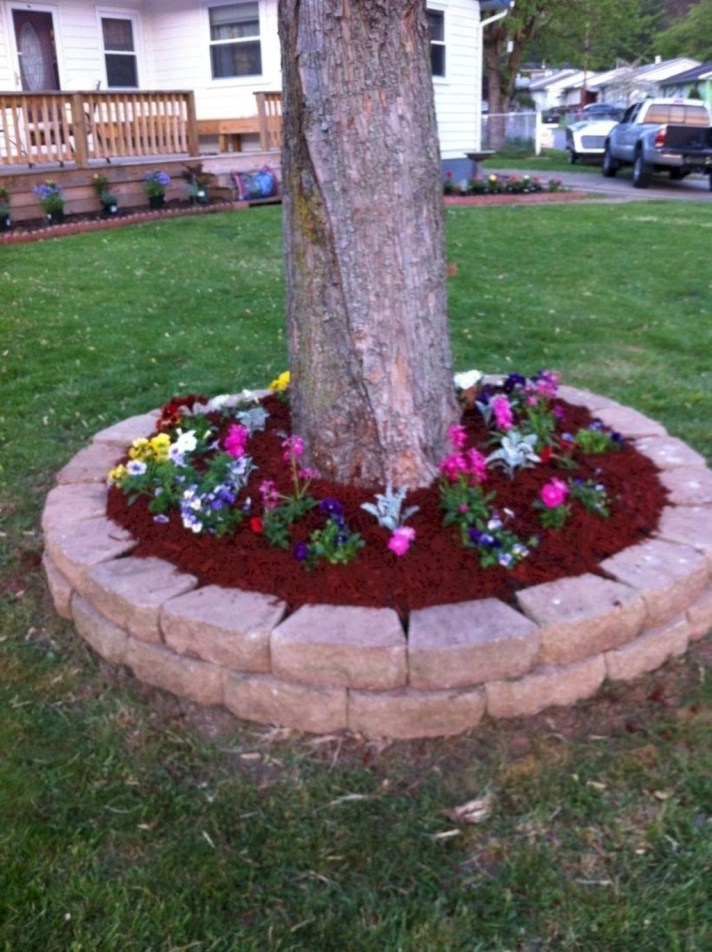 Adorable Flower Beds Ideas Around Trees To Beautify Your Yard 47