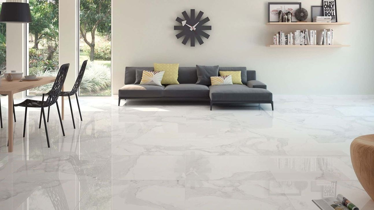 Awesome White Tiles Design For Living Room06