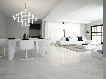 Awesome White Tiles Design For Living Room12