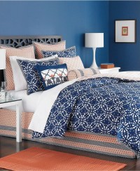 Beautiful Navy Blue And Coral Bedroom Decor04