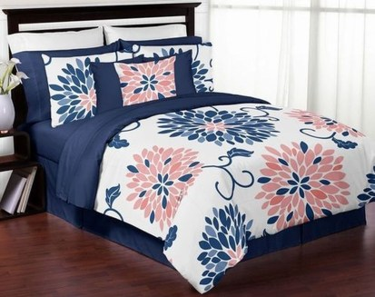 Beautiful Navy Blue And Coral Bedroom Decor07