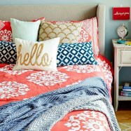 Beautiful Navy Blue And Coral Bedroom Decor14