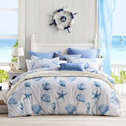 Beautiful Navy Blue And Coral Bedroom Decor23