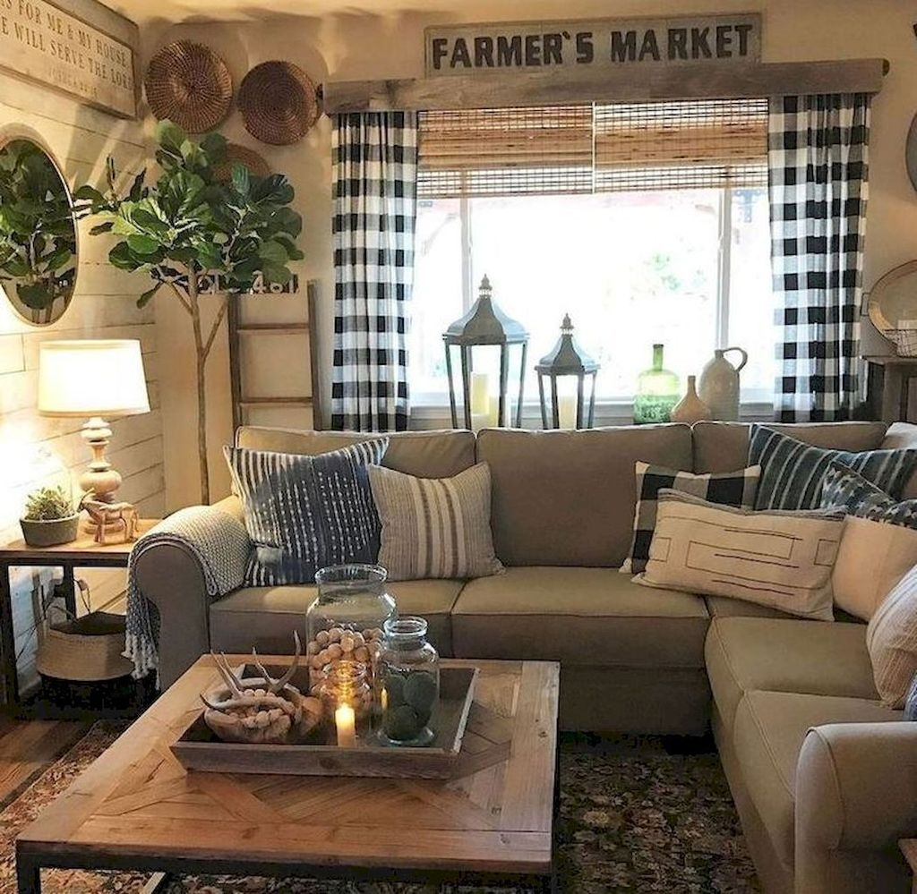 Awesome Living Room Design Ideas With Farmhouse Style34
