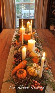 Lovely White And Orange Pumpkin Centerpieces For Fall And Halloween Table14