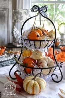 Lovely White And Orange Pumpkin Centerpieces For Fall And Halloween Table15