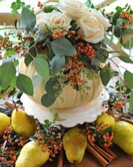 Lovely White And Orange Pumpkin Centerpieces For Fall And Halloween Table33