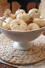 Lovely White And Orange Pumpkin Centerpieces For Fall And Halloween Table40
