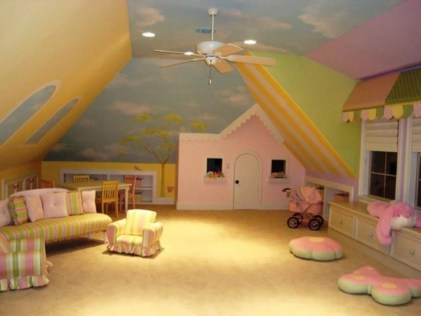 Affordable Attic Kids Room Decor Ideas17