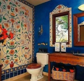 Cute Bohemian Style Decorating Ideas For Bathroom21
