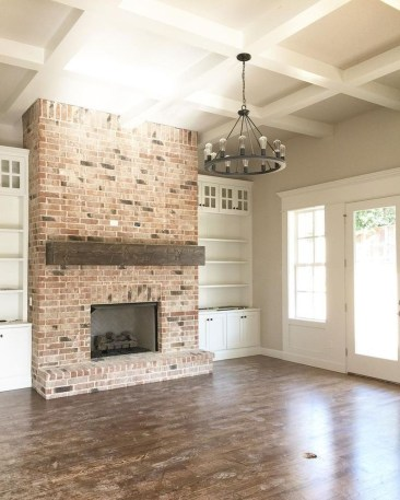 Modern Brick Fireplace Decorations Ideas For Living Room07