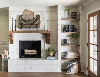 Modern Brick Fireplace Decorations Ideas For Living Room09