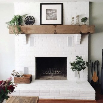 Modern Brick Fireplace Decorations Ideas For Living Room12
