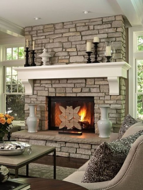 Modern Brick Fireplace Decorations Ideas For Living Room32